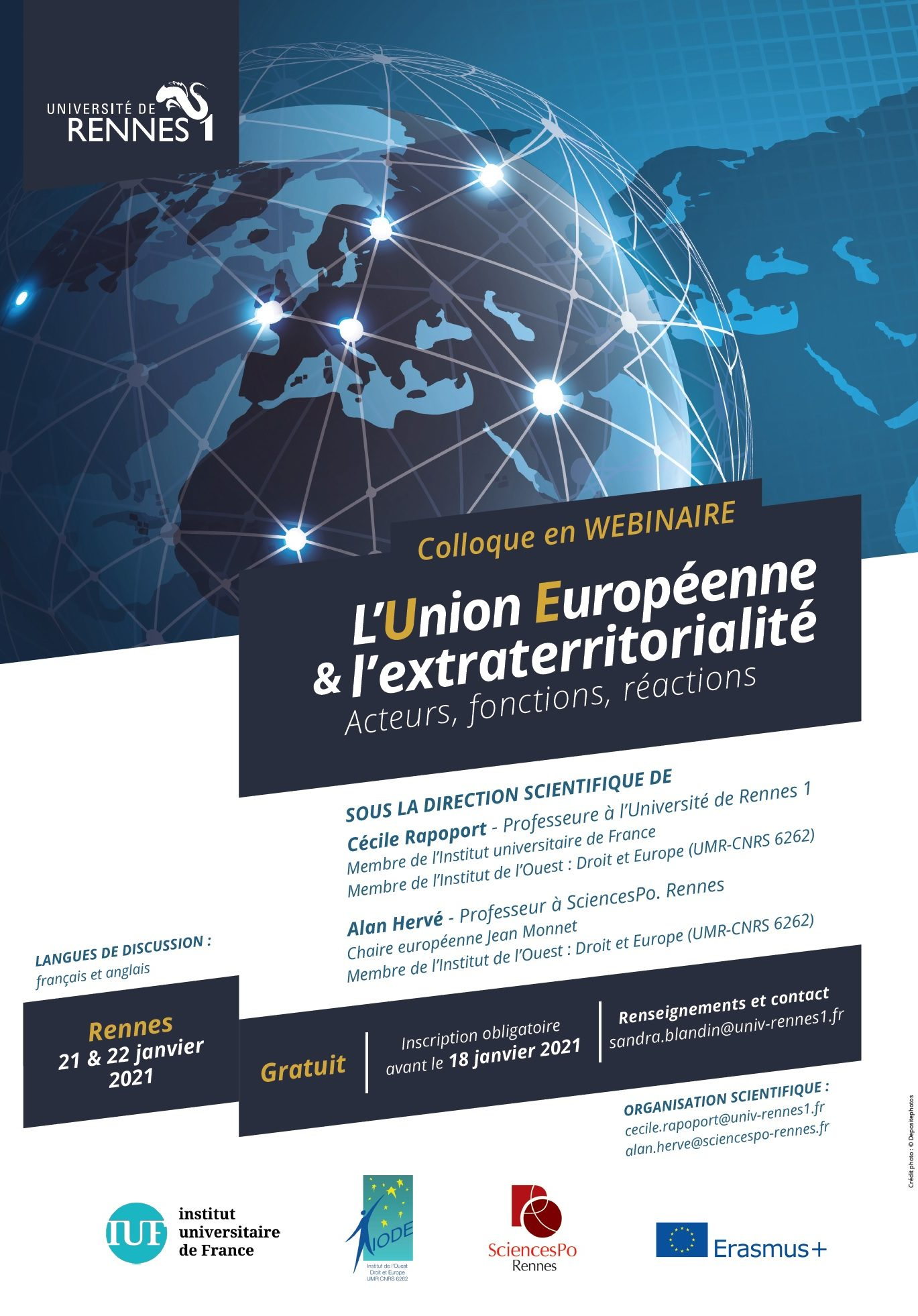 """Colloque en webinaire les 21 et 22 janvier 2021 """"L'Union Européenne et l'extraterritorialité"""" Acteurs, fonctions, réactions."""""""