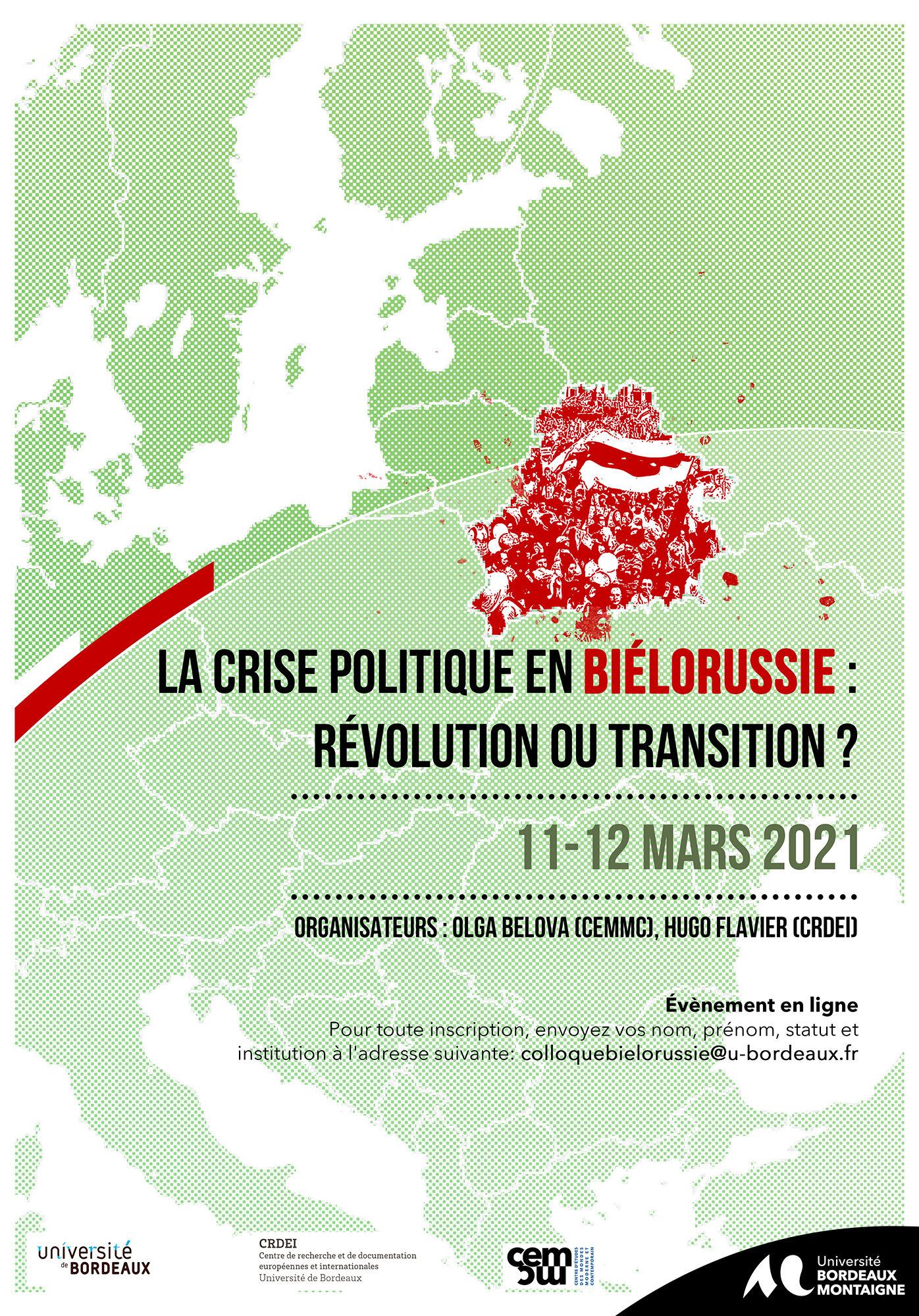 """Colloque """"La crise politique en Biélorussie : révolution ou transition"""" 11 et 12 mars 2021"""