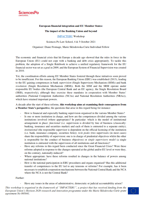 [Appel à contributions] European financial integration and EU Member States: The impact of the Banking Union and beyond